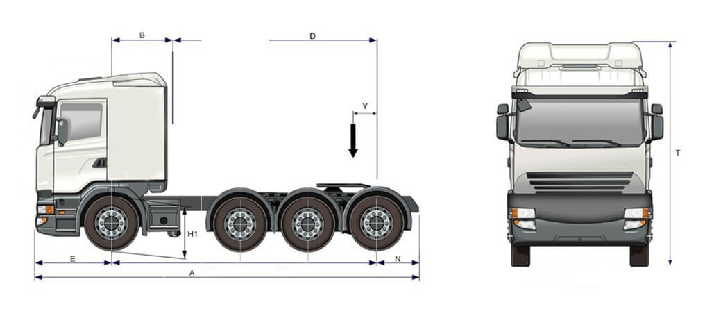 D 13 84 HA Tracteur Tridem Suspension Pneumatique Essieu Poussé